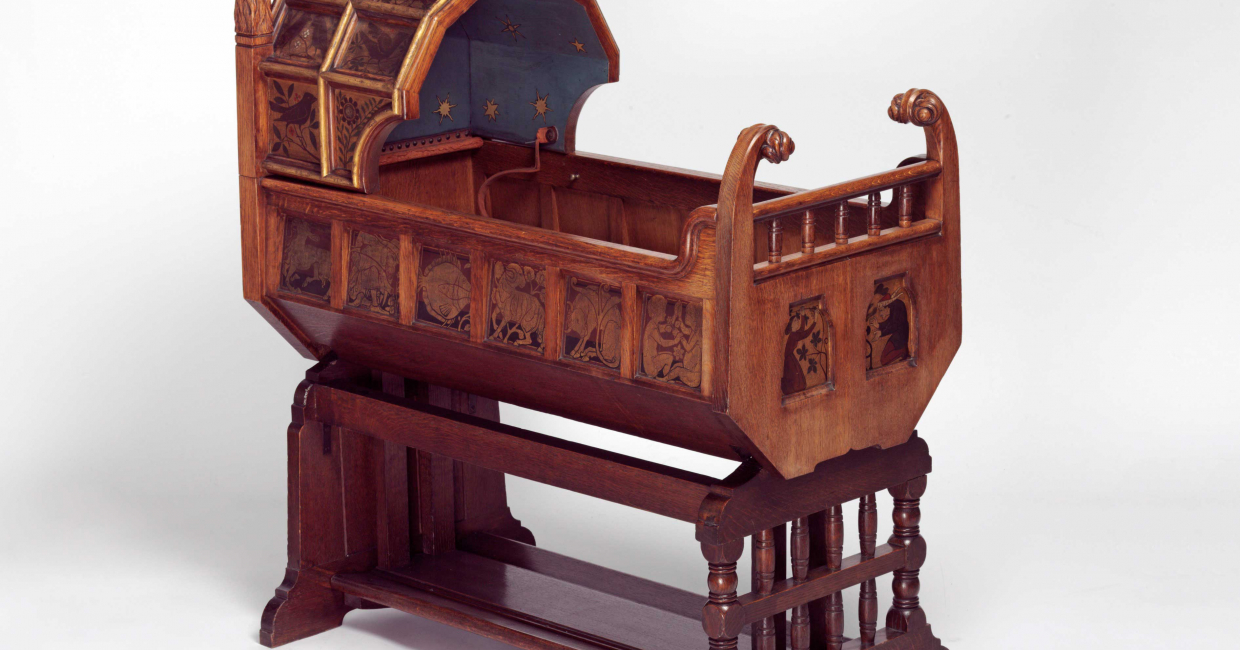 Gothic Style Cradle, designed by Richard Norman Shaw, c1861. Image © V&A Images