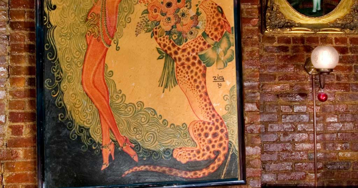 The interior of Chez Josephine pays homage to Josephine Baker