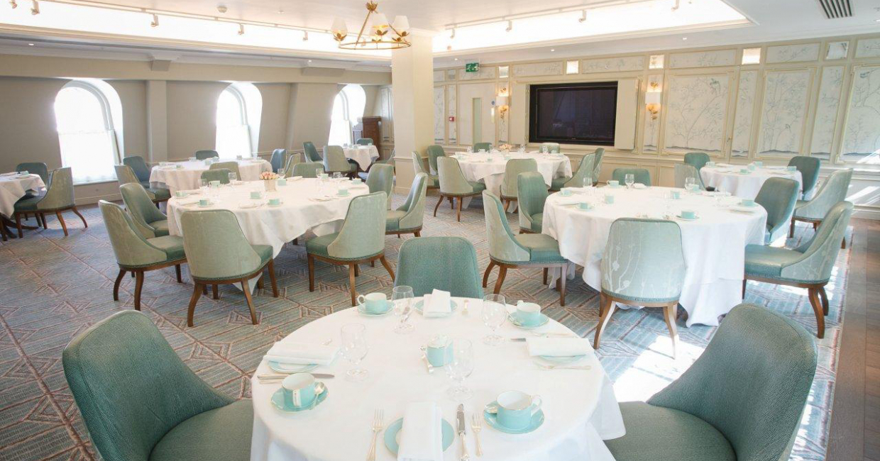 The tea room itself is awash with white, gold and eau-de-nil colour tones