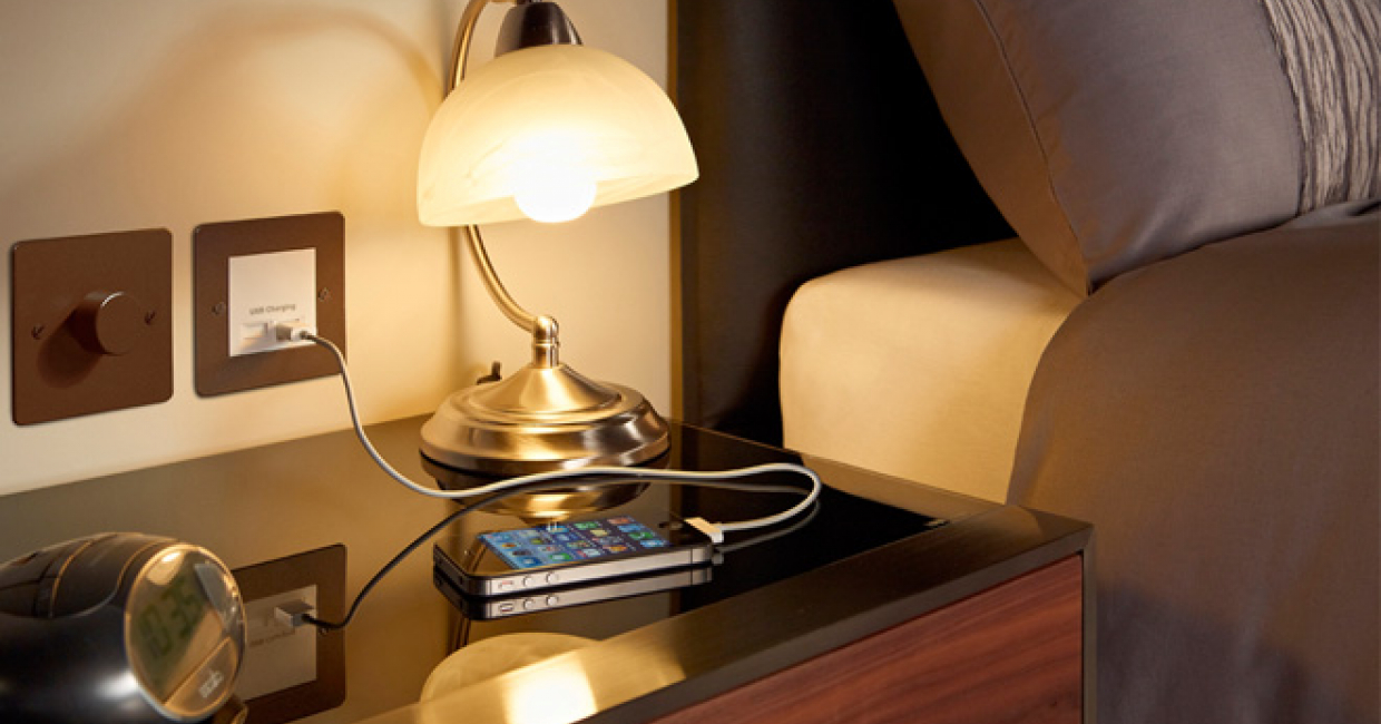 MK Electric's new USB charging module is ideal for use in hotel guest rooms