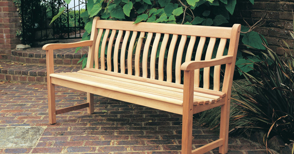 Broadfield bench with curved back slats