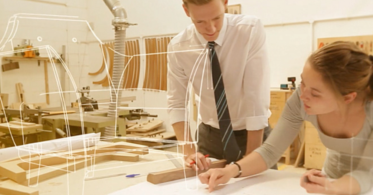 Still from Morgan's new film, which illustrates how a Modena chair is made