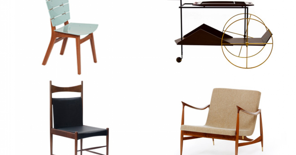 From top-left, clockwise: Rio acrylic by Carlos Motta, JZ Tea Trolley by Jorge Zalszupin, Dinamarquesa by Jorge Zalszupin, Cantu High by Sergio Rodrigues – all available from Espasso