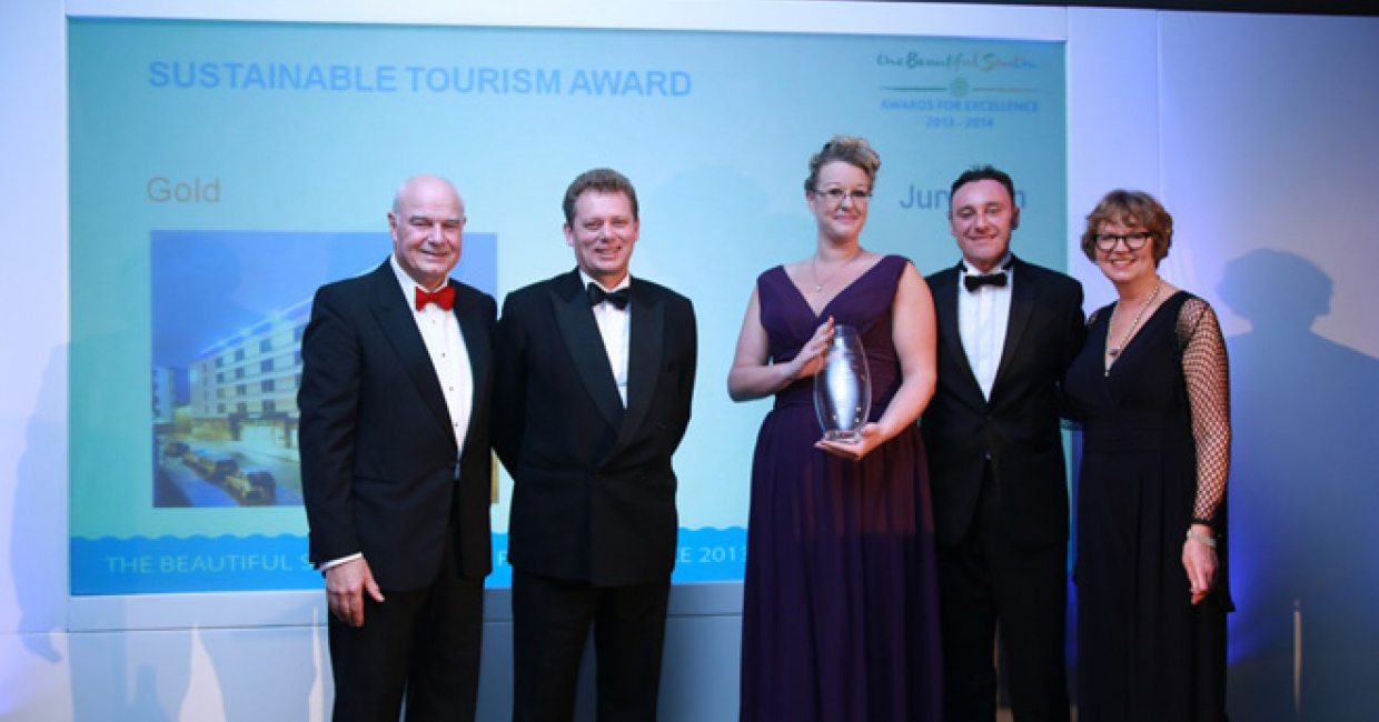 L-R: Ken Robinson; Jonathan Neame, CEO at Shepherd Neame; Nicola Cunningham, accommodation and sustainability manager at Jurys Inn Brighton; Damien Doyle, GM at Jurys Inn Brighton; and Alison Rice
