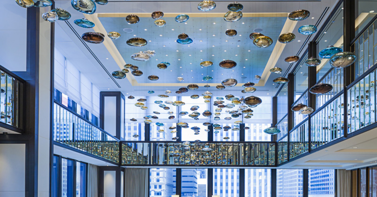 Lasvit light installation at The Langham, Chicago