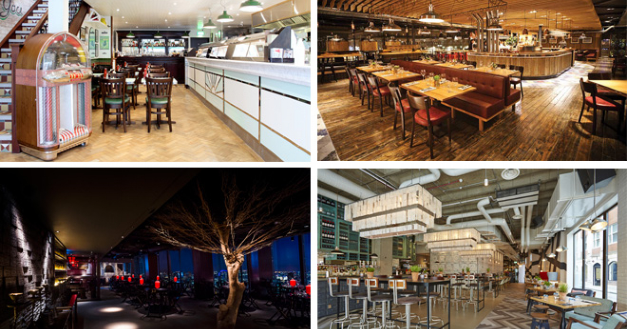 Casual Dining Interior Design Awards finalists (from top left, clockwise): Poppies, Camden; Graze, Bath; The Happenstance, London; Hutong at The Shard, London