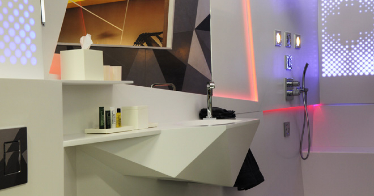 bathroom designs 2013. Laufen\u0027s Customisable Solid-surface Material Was Incorporated Into Purpose Design\u0027s Futuristic Bathroom Installation At Sleep Designs 2013