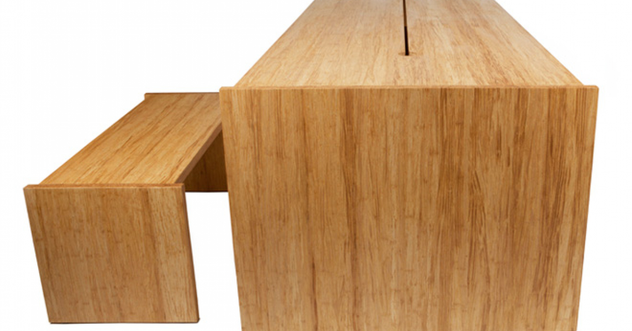 T-Bamboo table and bench, Jennifer Newman