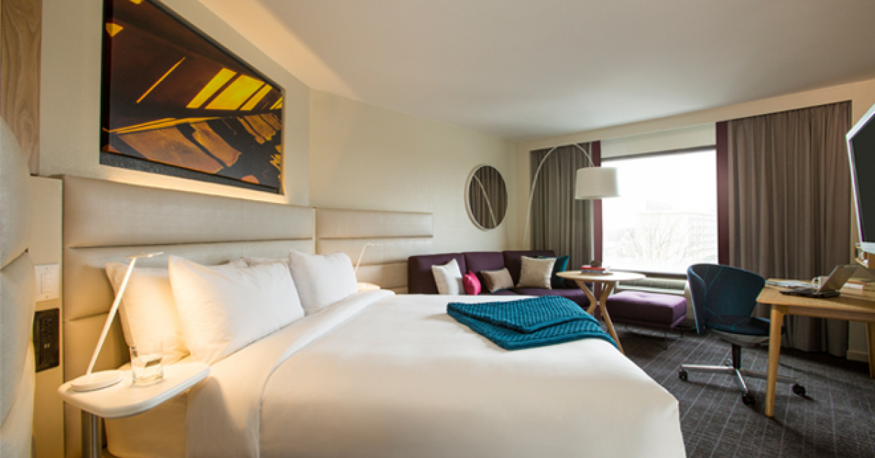 The new Crowne Plaza Hotels & Resorts guest room introduces a uniquely angled bed design, reducing noise levels and supporting a great night's sleep.