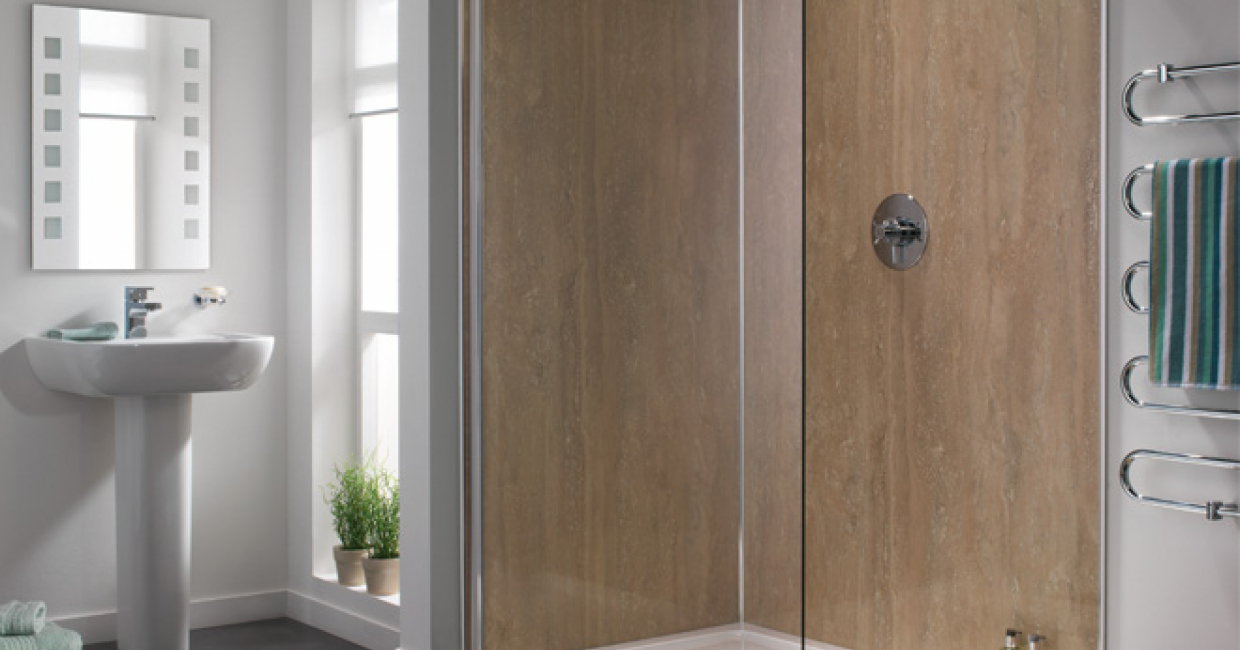 Showerwall's Rustic Travertine offers a stylish yet affordable stone look