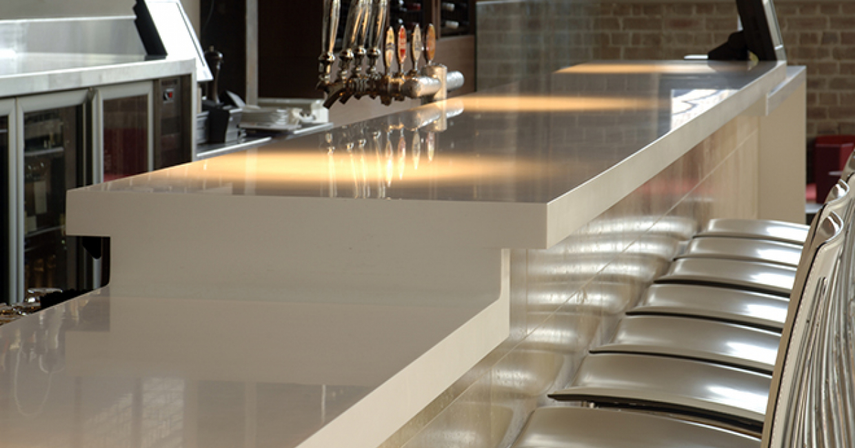 Hanex solid surfacing range in S-008 N-White