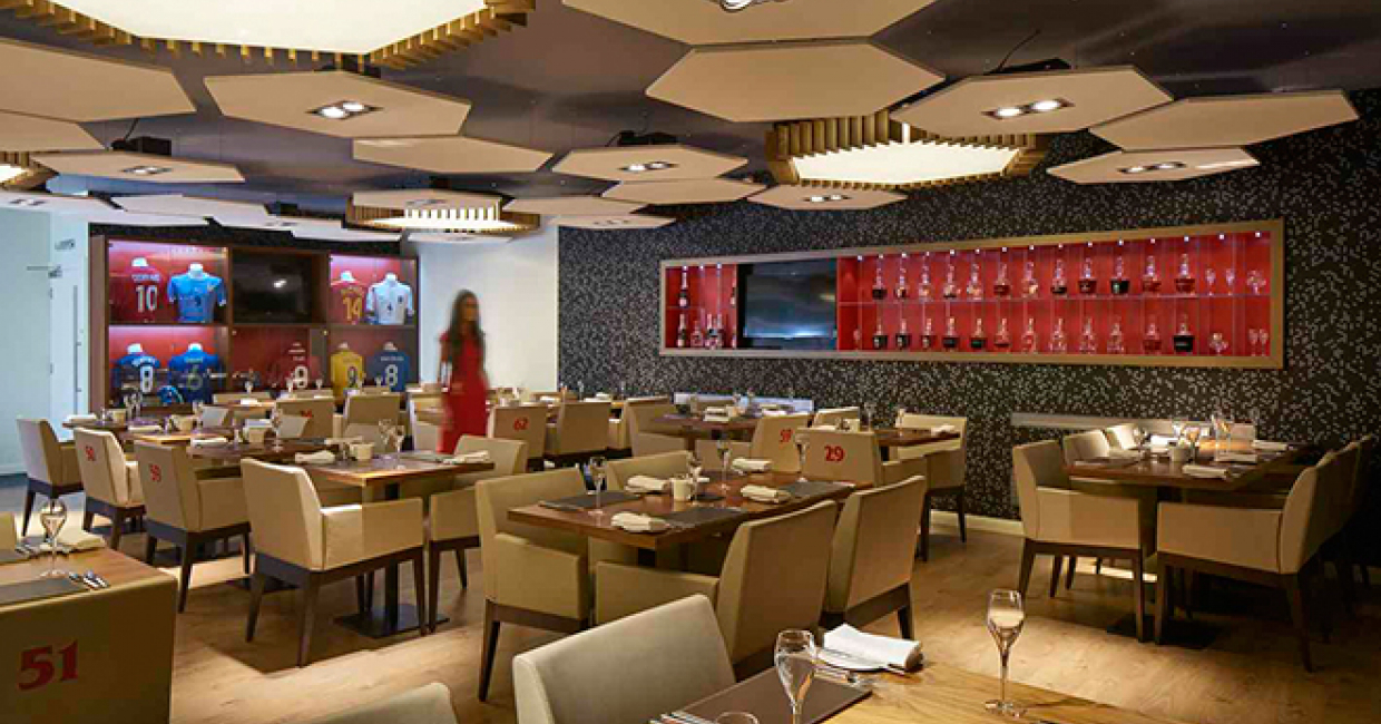 Designs innovative temporary hospitality suite at for Innovative interiors