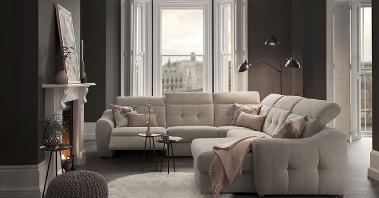 The Aura sofa in one of the brand new fabrics, Dandy Silver