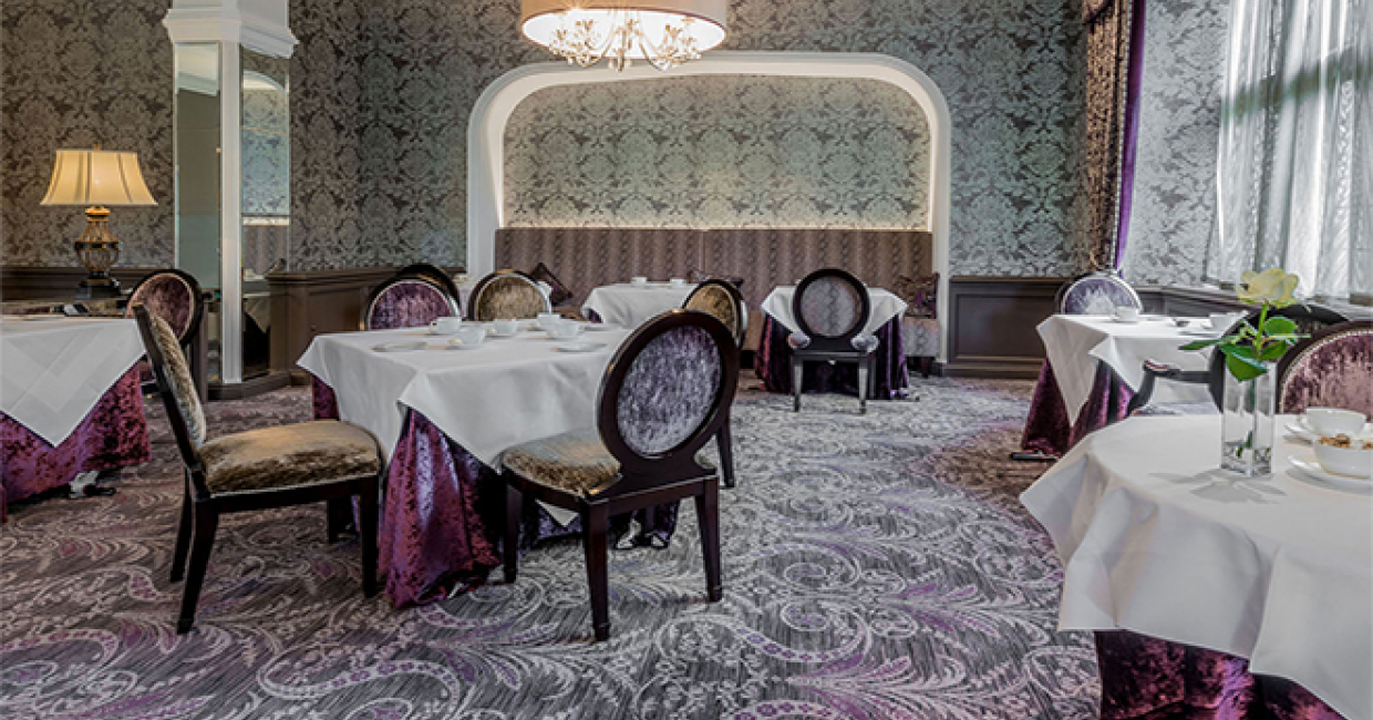 the illustrious history of bovey castle has inspired a flexible and vivid play on art nouveau style in the form of a bespoke carpet from wilton carpets