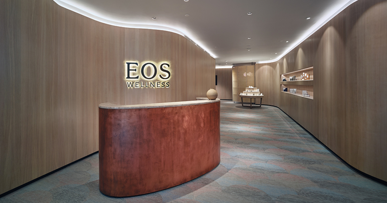 Bolon flooring has been used as part of a soothing design scheme at an EOS Wellness Spa in Kuala Lumpur